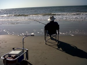 My daddy Surf Fishing
